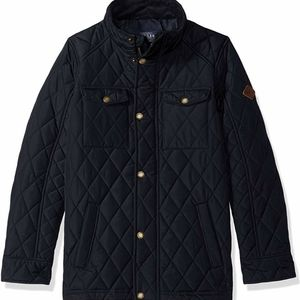 Joules Boys Quilted Stafford Navy Blue Jacket